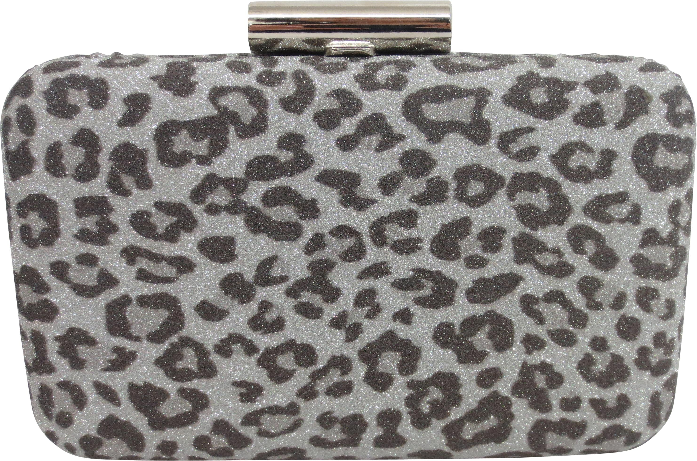 SRBE3392 - Leopard Glitter Clutch in Silver by Sondra Roberts. Fun evening bag in leopard glitter print clutch is perfect for a little black dress or night out. Imported.