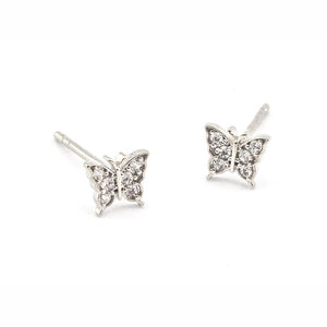 Tai CE1 -  Pave Butterfly Post Earrings in Silver by Tai. Flutter away with these pave set CZ's.