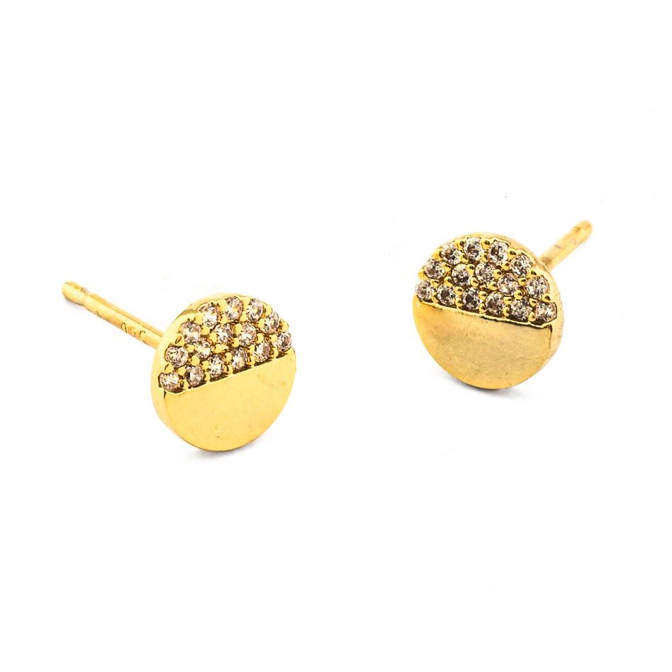 Tai CE3 - Circle Studs with Pave CZ Accents in Gold by Tai. Small circle studs with pave CZ details.