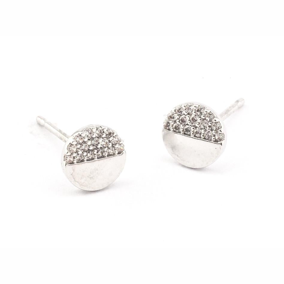 Tai CE3 - Circle Studs with Pave CZ Accents in Silver by Tai. Small circle studs with pave CZ details.