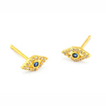 Load image into Gallery viewer, Tai CZE1 - Evil Eye Earrings in Gold by Tai. Luck is on your way! Pave set CZ's with a blue center.