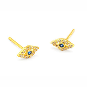 Tai CZE1 - Evil Eye Earrings in Gold by Tai. Luck is on your way! Pave set CZ's with a blue center.