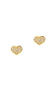 Tai CZE1 - Heart Studs in Gold by Tai. Hearts are forever especially with pave CZ details.