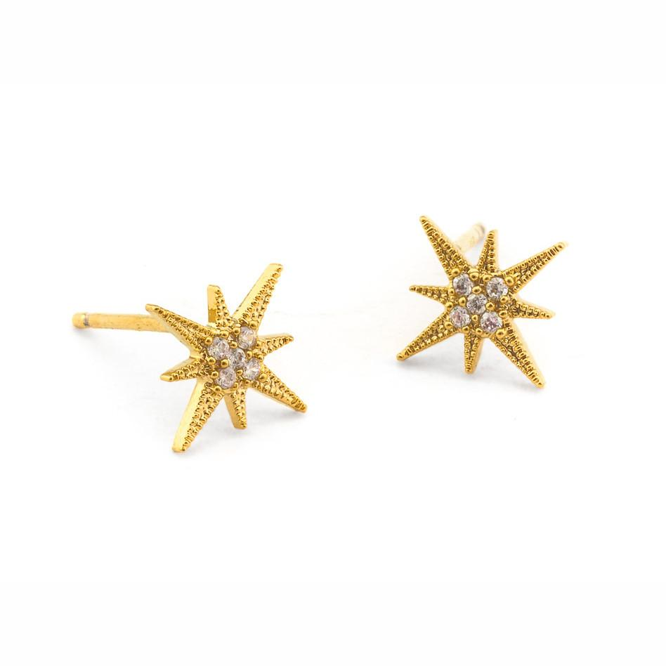 Tai CZE1 - Starburst Studs in Gold by Tai. Shine bright with pave set CZ starburst stud earrings.