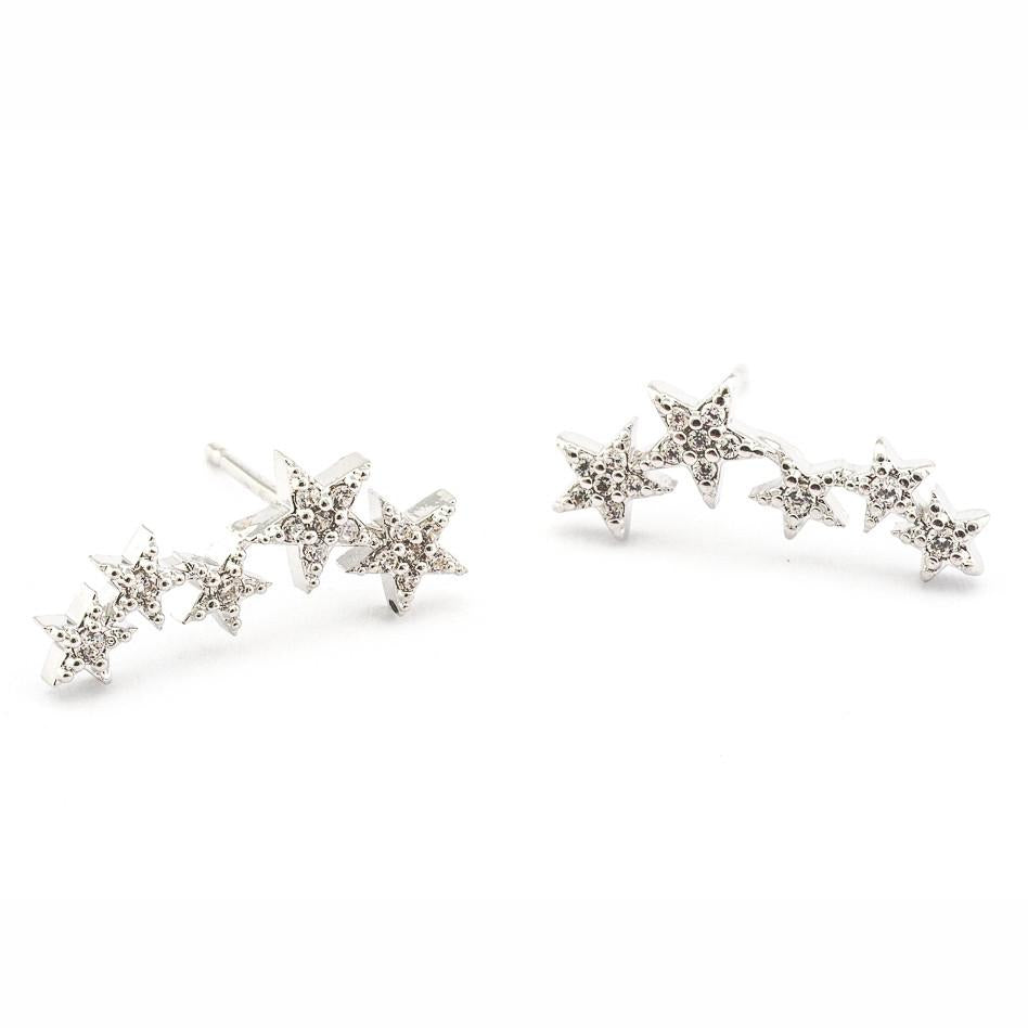 Tai CZE1 - Five Star Earrings in Silver by Tai. Five star climber post earring with CZ accents.