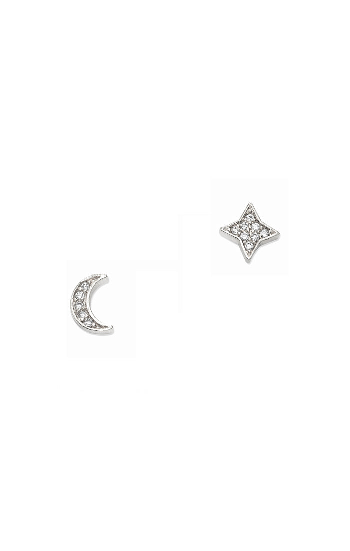 Tai CZE1 -  Star and Moon Studs in Silver by Tai. Crescent moon and four pointed star studs with pave set CZ.