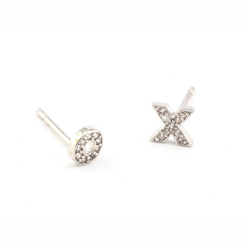Tai CZE1 - XO Studs in Silver by Tai. Hugs and Kisses, XO. Pave set CZ.