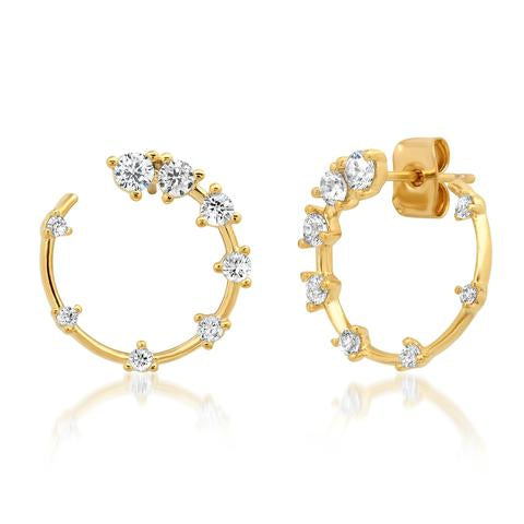 The CZ Front Facing Hoop Earrings in Gold