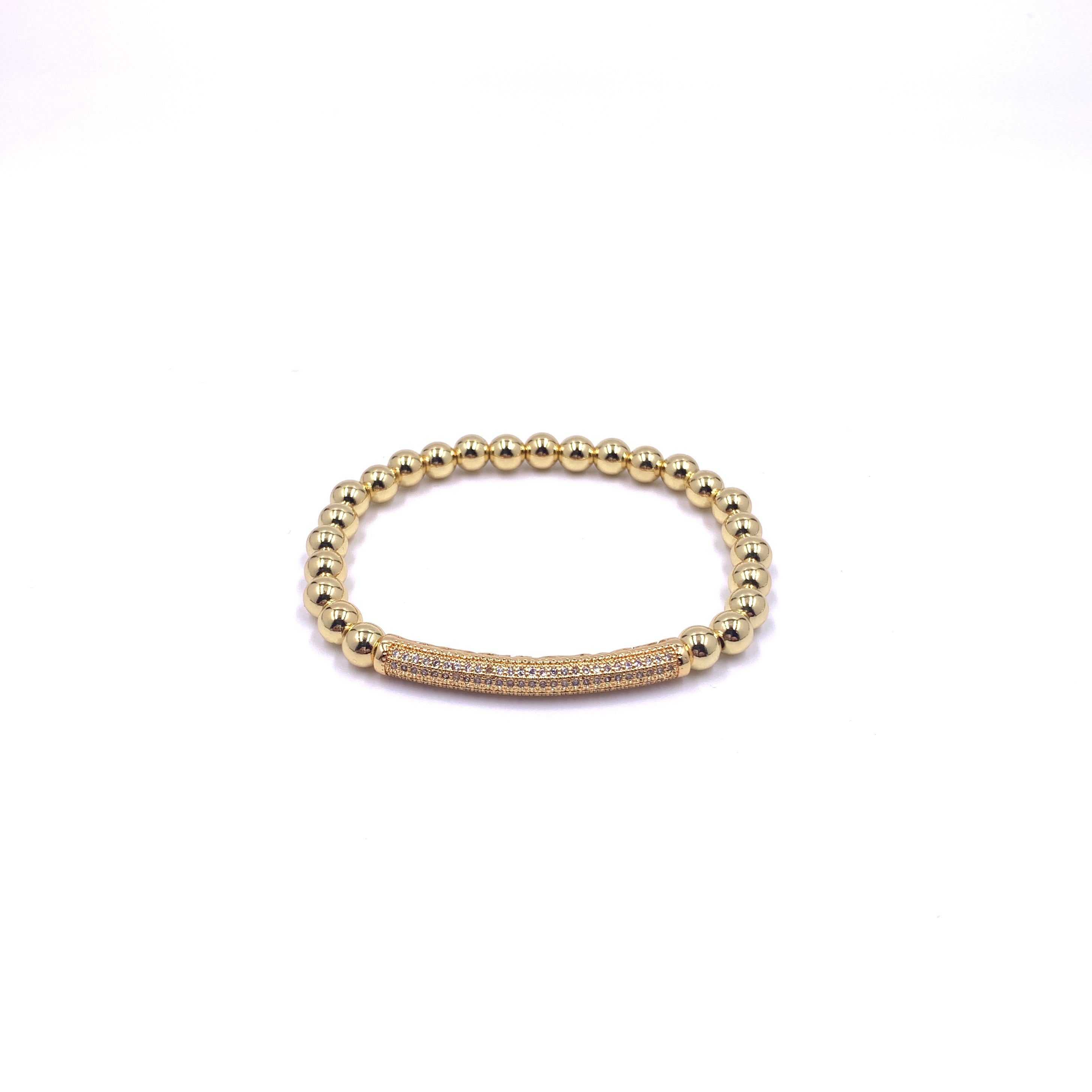 The Medium Bead Bracelet with Pave Bar in Gold