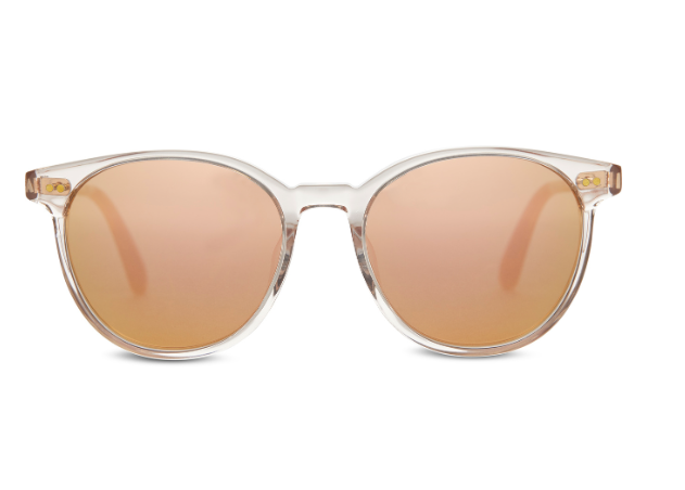 Toms Bellini - The Sunglasses in Champagne Crystal with Rose Mirrored Lenses by Toms. The Bellini sunglass you want for summer. A round acetate frame with an adjustable wire core for fit. Frame dimensions: 52-18-147. Case included.