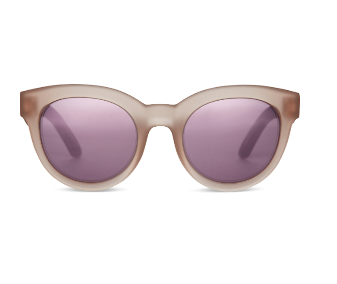 Toms Florentin - The Sunglasses in Matte Smoke Lilac with Violet Mirrored Lenses by Toms. The Florentin is part of the Traveler Collection constructed in Solaflex for pliability and duability. Designed to bend, flex and withstand life on the move. The Florentin is a rounded frame with a slightly cat-eye shape. A flirty frame with bold proportions that make a statement. A top seller. Frame dimensions: 52-23-148. Case included.