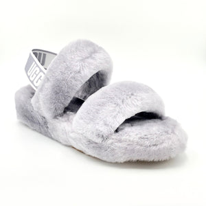 Oh Yeah - The Fluffy Ugg Slipper Sandal in Soft Amethyst