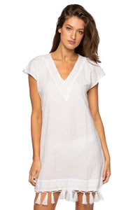 Vtassel - The V-Neck Coverup Dress in White by Subtle Luxury.  Vacation every day! Dual use as a dress or coverup, this pretty and versatile piece makes life so easy. In fresh white with gold lurex thread, you'll look so elegant and so Spring and Summer ready. Short sleeves, a generous V-neck, tassels at the hem and hand-stitched embroidery detail this lovely look. Sandals or white sneakers, a simple bracelet and your favorite bag can easily complete this stylish look.