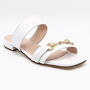 Fiore - The Bit Slide Sandal in White These stylish Italian leather 2 band sandals with gold bit ornament & leather soles are both luxurious & comfortable.