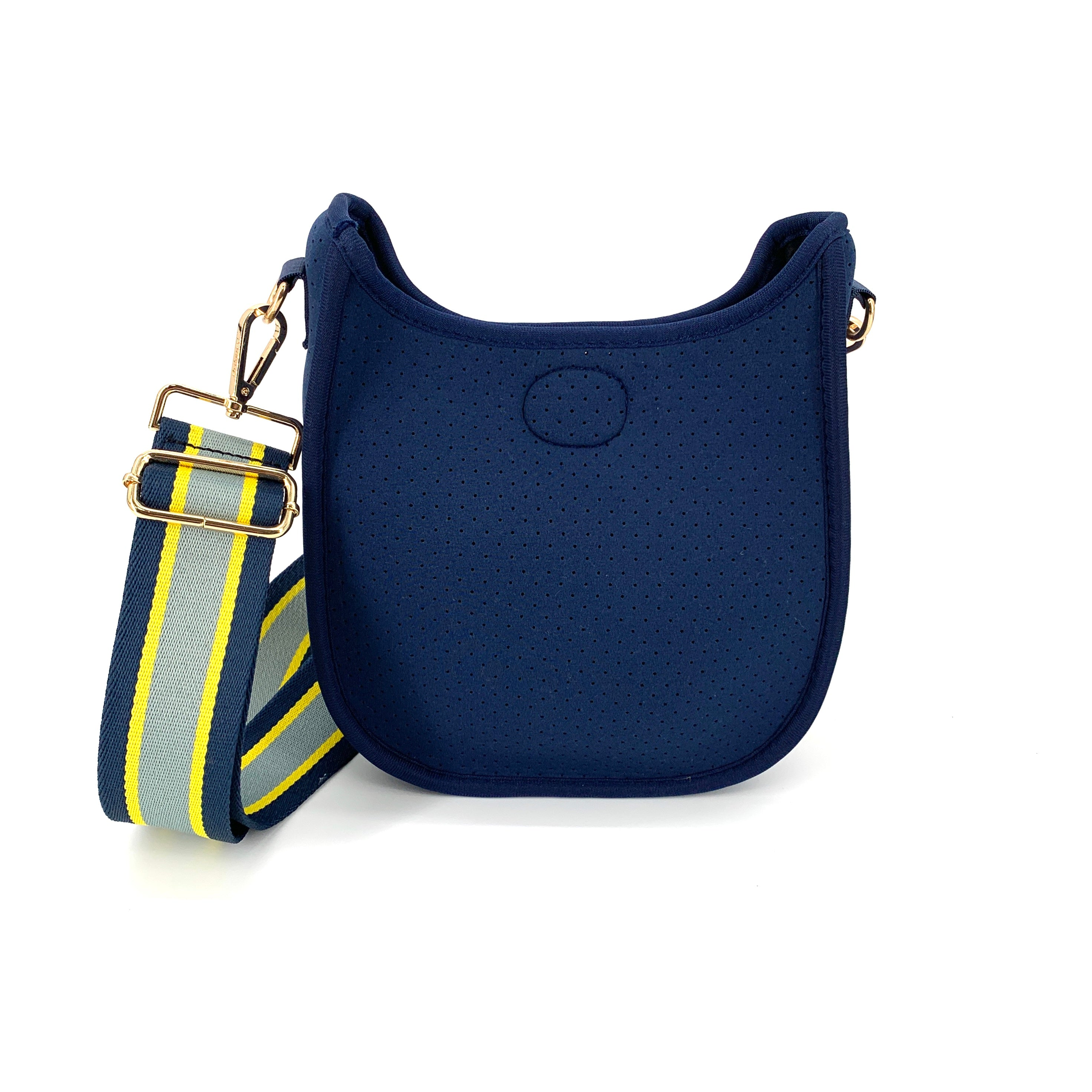 "Ahdorned N106MP. The Mini Neoprene Messenger in Navy with Yellow and Gray Stripe Strap. A mini take on the classic messenger bag featuring a snap top closure and exterior side pocket. Adjustable 2"" strap is included. Extends up to 54"". Bag measures 9.5"" H x 8.5"" W x 2"" D ."