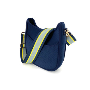 The Mini Neoprene Messenger in Navy with Yellow and Gray Stripe Strap