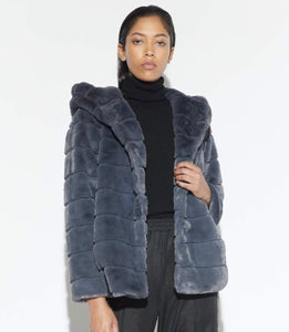 The Hooded Faux Fur Jacket in Ash Grey