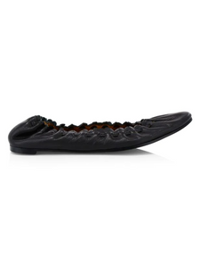 JaneP - The Almond Toe Scalloped Ballet Flat in Black