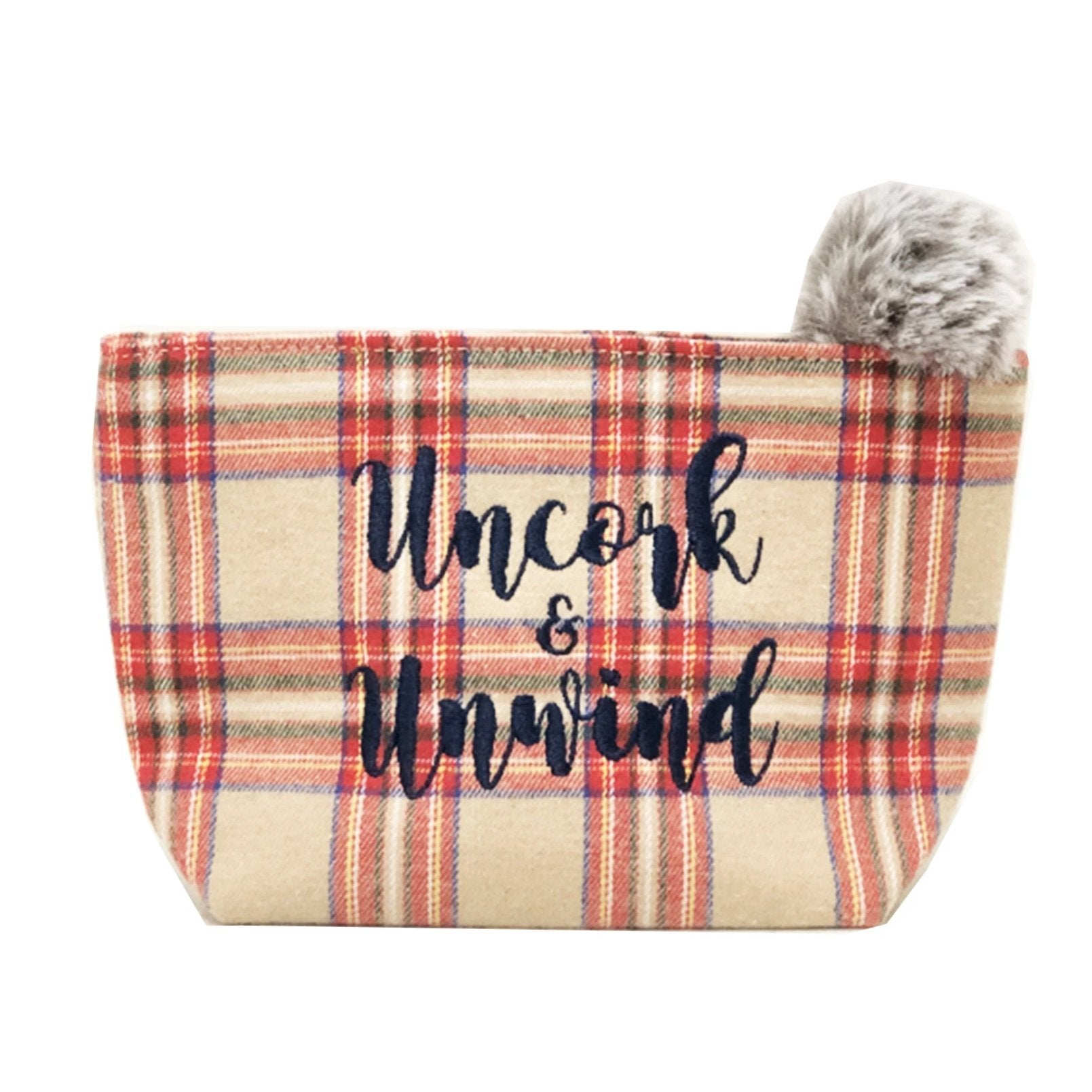 "The ""Uncork & Unwind"" Plaid Pouch in Red Cream"