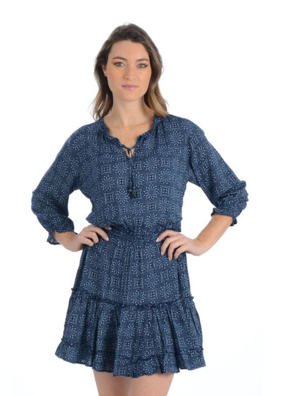 The 3/4 Sleeve Dress in Indigo Medallion