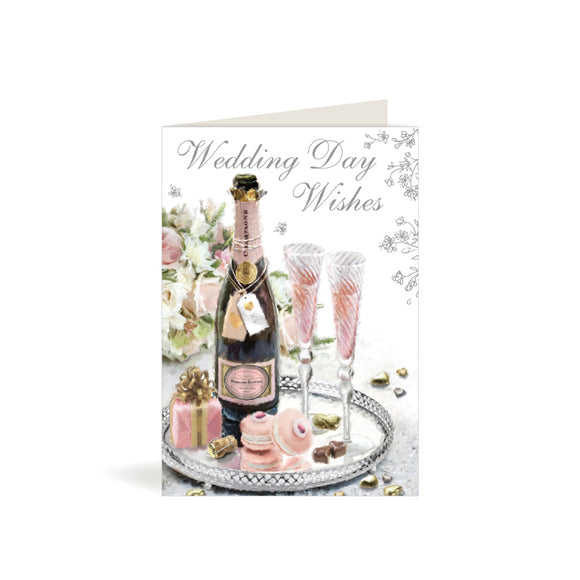 Greeting Card - Wedding Day - Pink Champagne