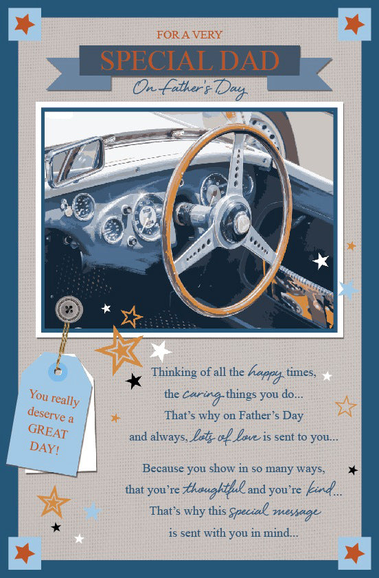 Father's Day Greeting Card - Classic Car Steering Wheel