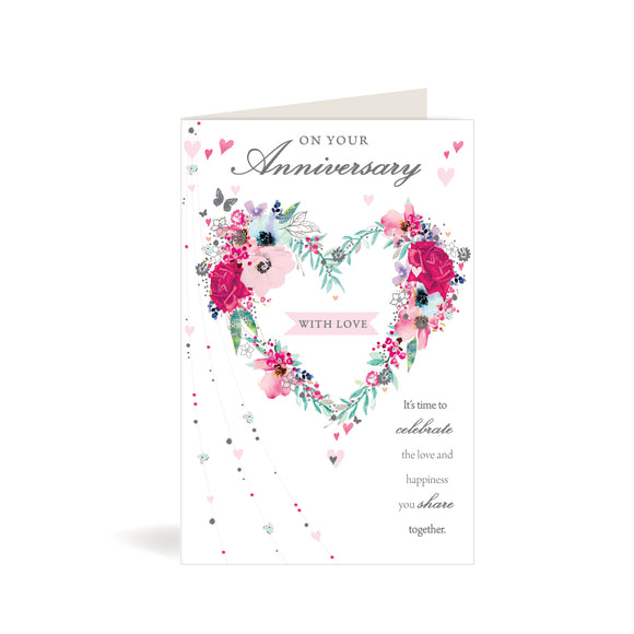 Greeting Card - Your Anniversary - Floral Heart Wreath