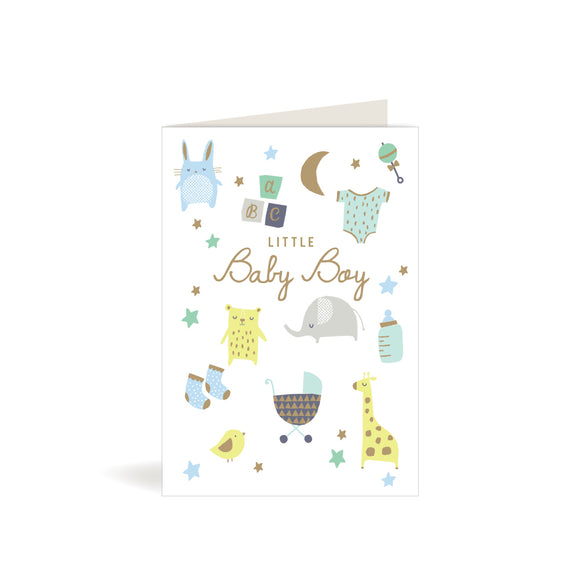 Greeting Card - Baby Boy - Animals & Stars