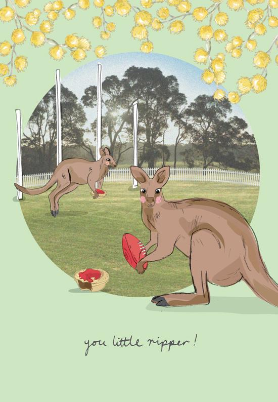 Greeting Card - Our Aussie Way, 'Pies at the Footy'