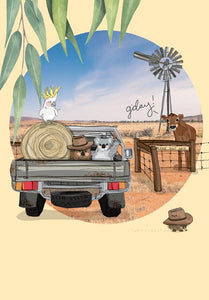 Greeting Card - Our Aussie Way, 'Outback Farm Adventures'