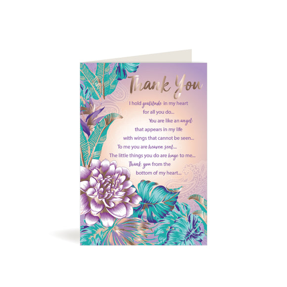 Greeting Card - Thank You - Purple Flowers