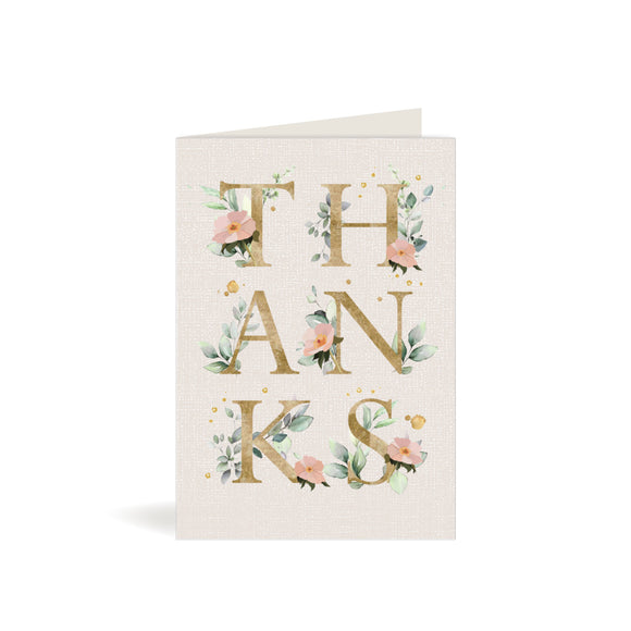 Greeting Card - Thank You - Letters with Flowers