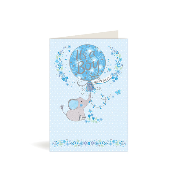 Greeting Card - Baby Boy - Elephant with Balloon