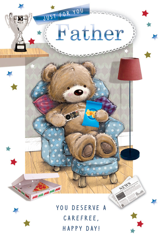 Father's Day Greeting Card - Teddy on Couch