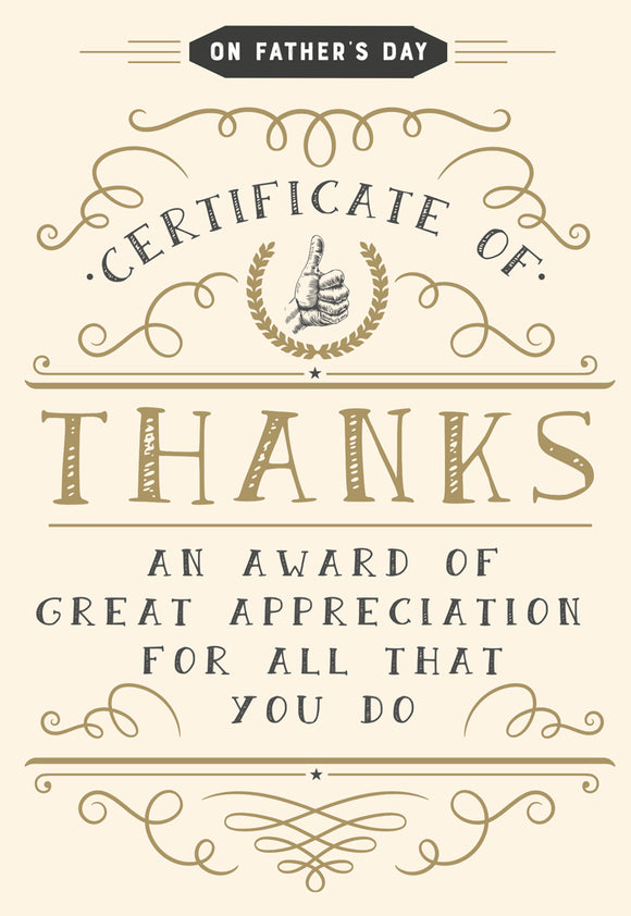 Father's Day Greeting Card - Certificate of Thanks