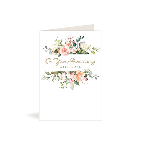 Greeting Card - Your Anniversary - Watercolour Flowers