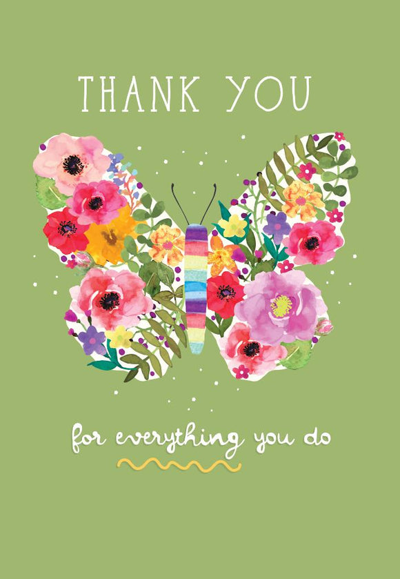 Greeting Card - 'Care' Thank you Butterfly