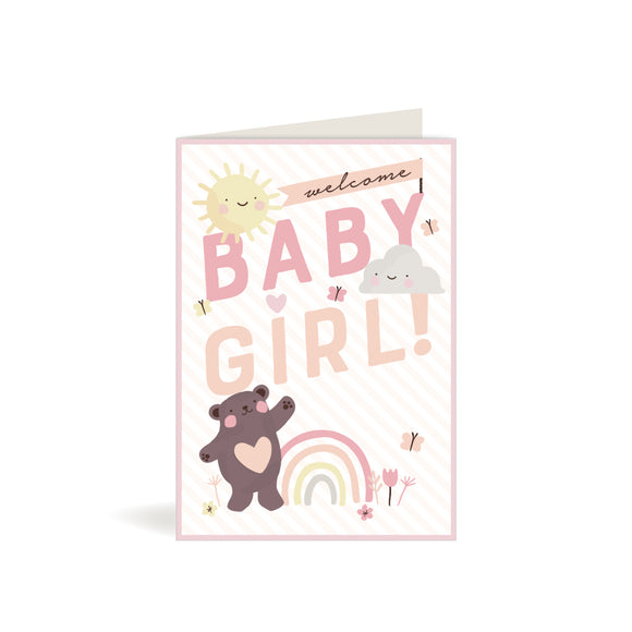 Greeting Card - Baby Girl - Teddy with Rainbow