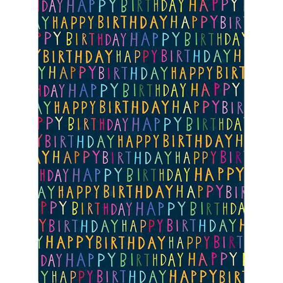 Gift Packaging - Wrapping Paper Happy Birthday Script
