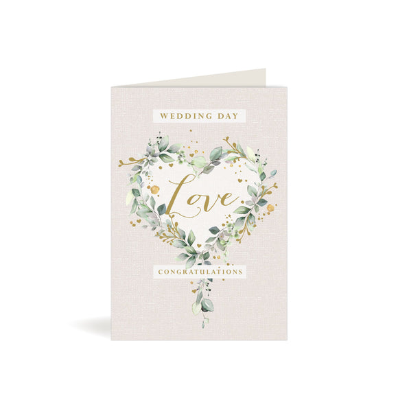 Greeting Card - Wedding Day - Eucalyptus Heart Wreath