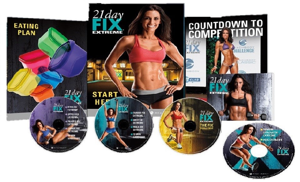 21 Day Fix Extreme Workout Program Deluxe Kit Complete Fitness 4 DVD Set - Aydenns