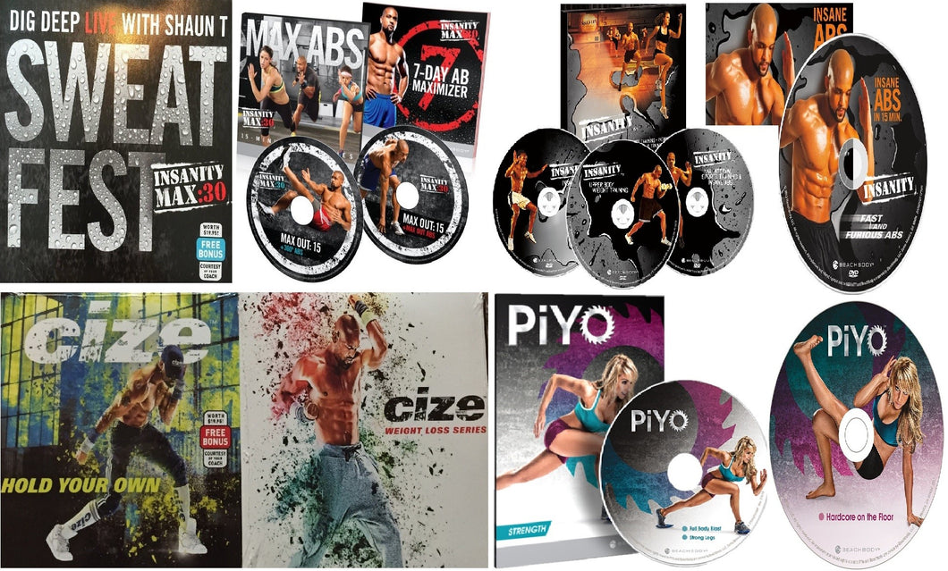 SPECIAL OFFER: Insanity, Cize, & PiYO Bonus Fitness Workout Combo on 12 DVD's - Aydenns