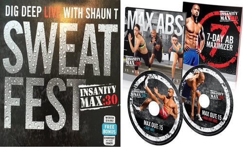 Insanity Max: 30 Max Abs 15 Minute AB Series & Sweat Fest Bonus Workout 3 DVD Program - Aydenns