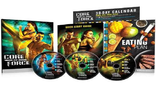 Core De Force Workout Fitness Set Showing Close Up of All 3 DVD's Base Set Image 1