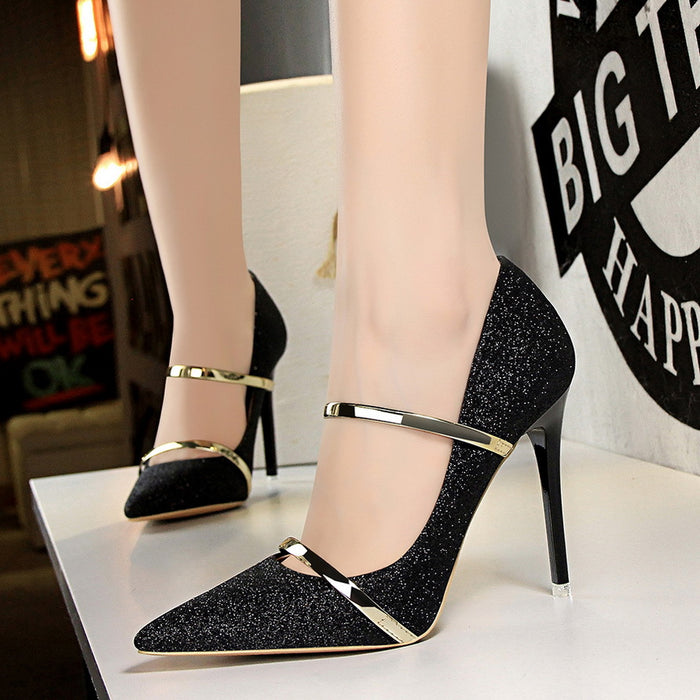 Shallow mouth pointed sequin cloth sexy thin high-heeled shoes