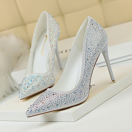 Banquet shallow mouth pointed rhinestone colored diamond high-heeled shoes
