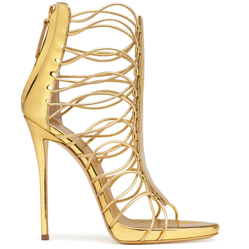 Golden Open toe Rear zipper stiletto sapphire Sexy Cutout  Night Club High Sandals