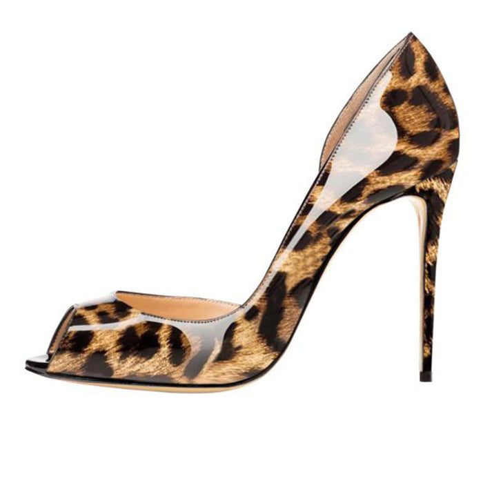 Women's Solid color Leopard print  Fish mouth     Heels Sandals