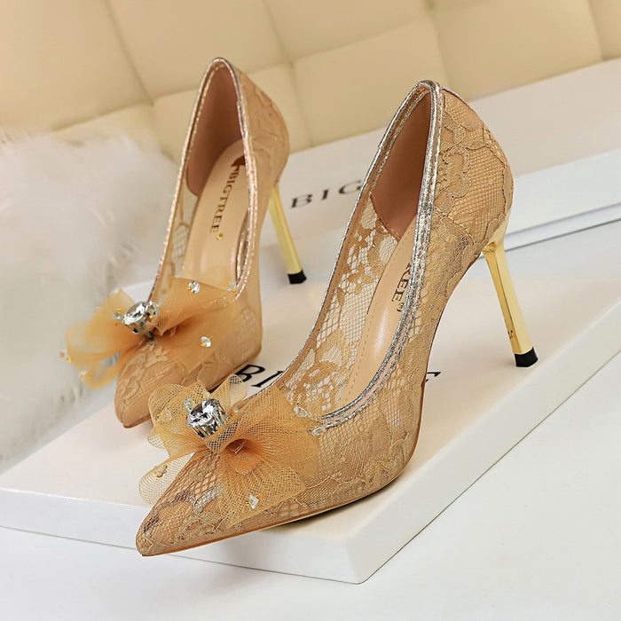 Stiletto high-heeled shallow mouth pointed mesh hollow lace rhinestone bow bow shoes