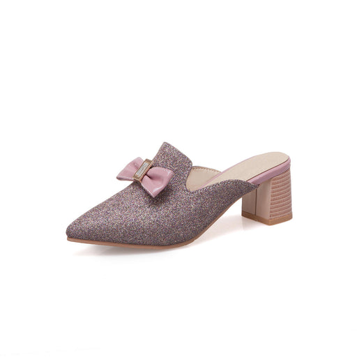 Glitter purple  Bow point Block slippers